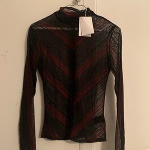 Black + red long sleeved lace & Other Stories top
